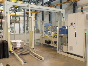 Case erector and palletizing line